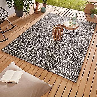 Design Outdoorteppich Webteppich Flachgewebe | Pine Anthrazit Braun