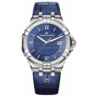 Maurice Lacroix Aikon Mens Blue Dial Blue Leather Strap AI1008-SS001-430-1 Watch