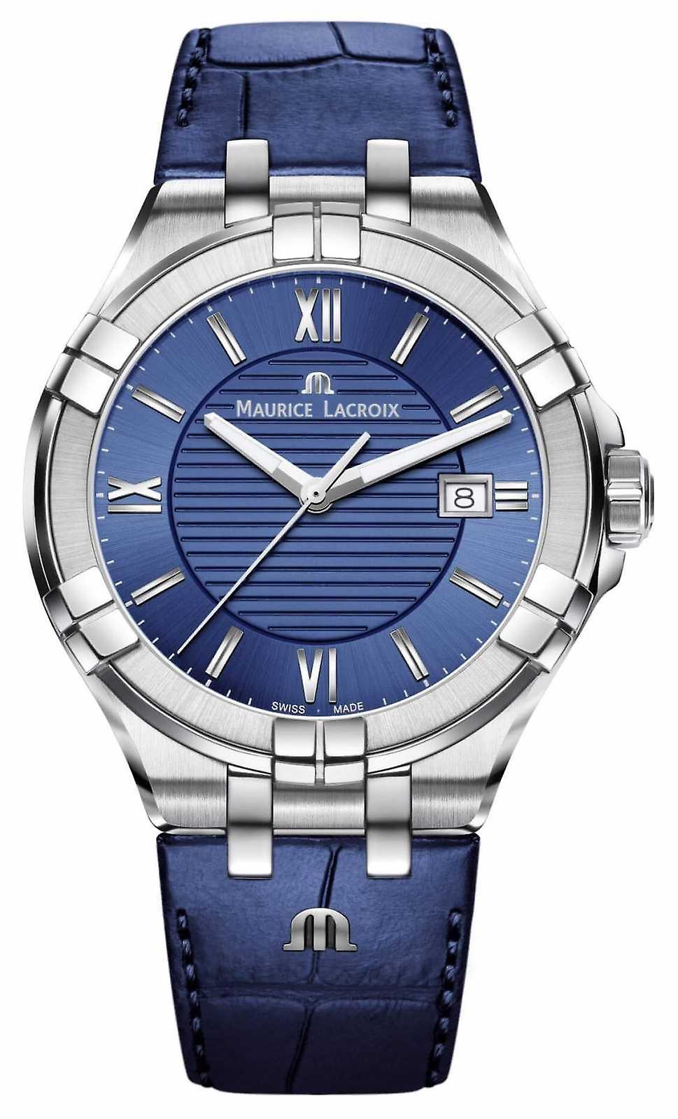 Maurice Lacroix Aikon Mens Blue Dial Blue Leather Strap AI1008-SS001-430-1 Watch