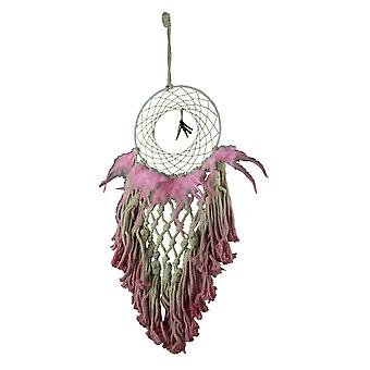 Pink Dip Dyed Cotton Macrame Feather Dream Catcher