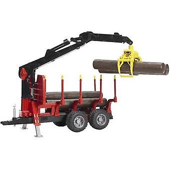 Brother back trailer with loading crane, 4 logs and timber grab