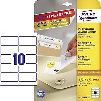 Avery-Zweckform L4744REV-25 Labels 96 x 50.8 mm Paper White 300 pc(s) Removable All-purpose labels Inkjet, Laser, Copier 30 sheet A4