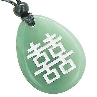 Lucky dobbelt lykke magiske held Amulet grøn aventurin Totem perle sten halskæde vedhæng