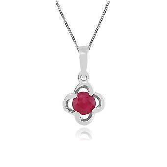 Floral Round Ruby & Diamond Halo Pendant Necklace in 9ct White Gold 162P0095039