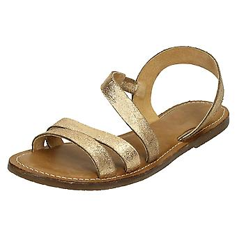 Ladies Leather Collection Flat Y Strap Slingback Mule F0936
