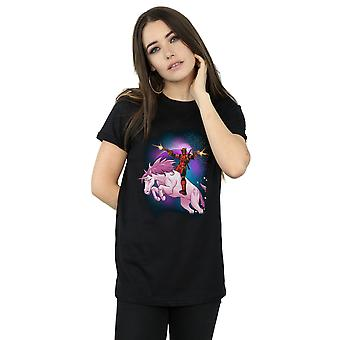Marvel kvinnors Deadpool utrymme Unicorn Boyfriend Fit T-Shirt
