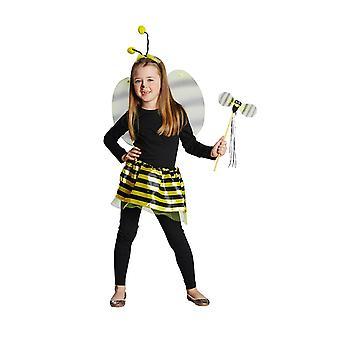 Bienen Set Kinder Deluxe 4tlg Haarreif Flügel Rock Stab Kinderkostüm Fasching