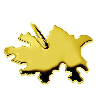 Trailer map pendants in gold yellow-gold in the form of Azerbaijan