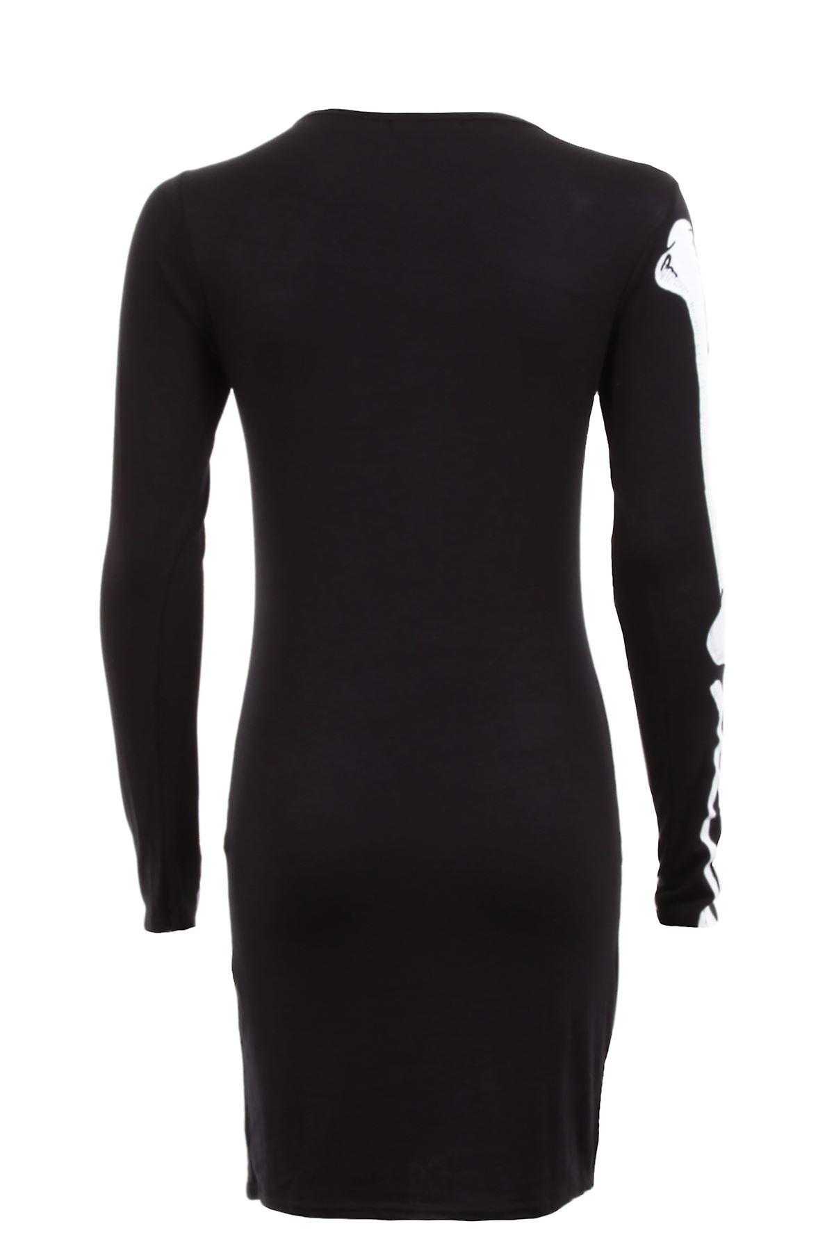 Ladies Long Sleeve Skull Bone Skeleton Print Bodycon Women's Short Dress