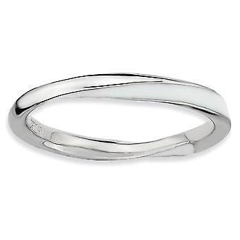 925 Sterling hopea kiillotettu kierretty valkoinen emalied 2,5 x 2,25mm pinottava rengas korut lahjat naisille - rengas koko: 5 t