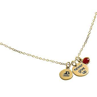 Gemshine Chain float-ge aldrig upp-925 silver, guldpläterad, Rose-ruby