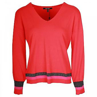 Marie Mero Red Berry Fine Knit Long Sleeve Jumper