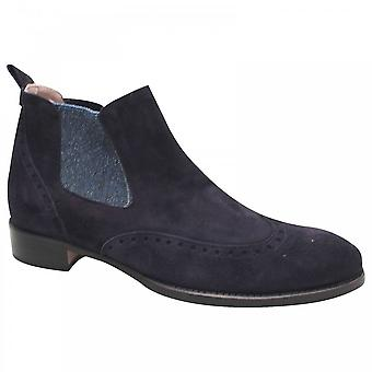 Calpierre Navy Blue Suede Chelsea Ankle Boot