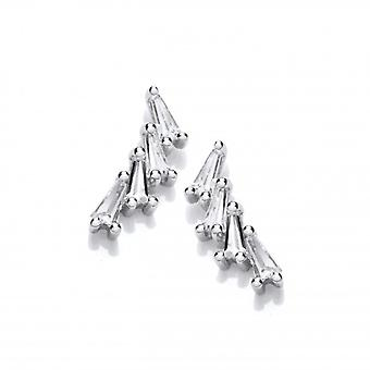 Cavendish French Silver & Cubic Zirconia Curve Stud Earrings