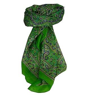 Mulberry traditionella Square sidenscarf Kangra Lime av Pashmina & Silk