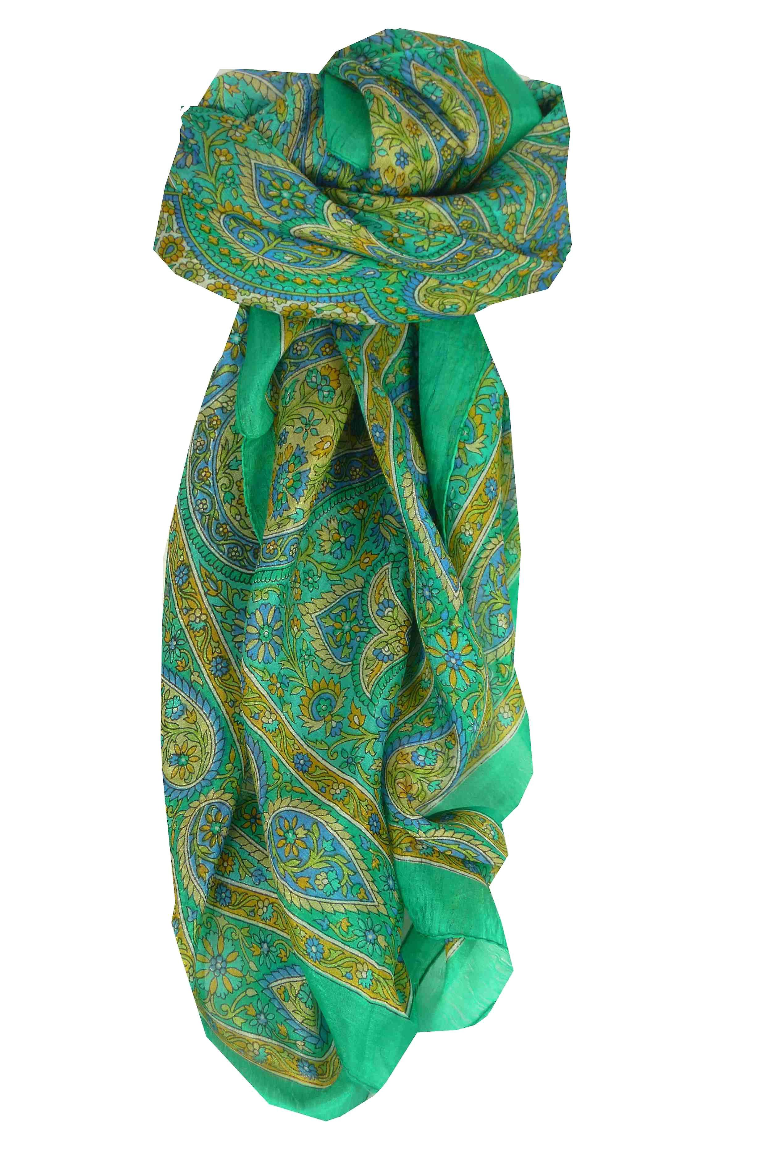 Mulberry Silk Traditional Square Scarf Amnat Teal by Pashmina & Silk