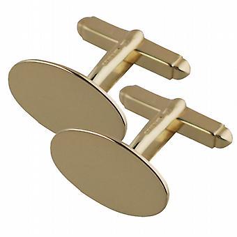 18ct Gold 19x11mm oval plain swivel Cufflinks