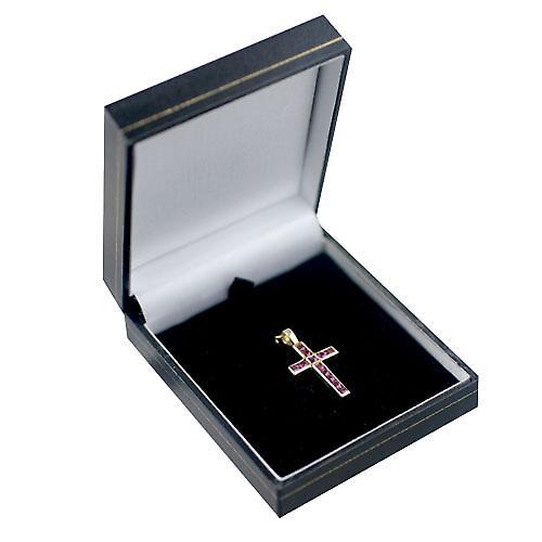 9ct Gold-25x16mm Apostel Kreuz-Set mit 12 Rubinen
