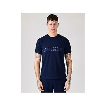 MARSHALL ARTIST Navy Casa Check T-shirt