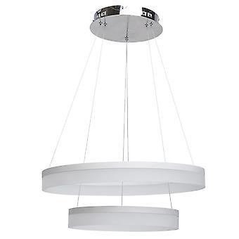 Glasberg - pendentif LED deux anneau blanc et chromé 661011502