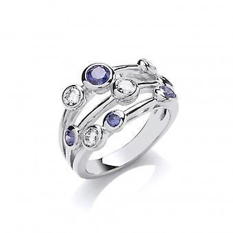 Cavendish French Silver and Tanzanite CZ Triple Band Ring