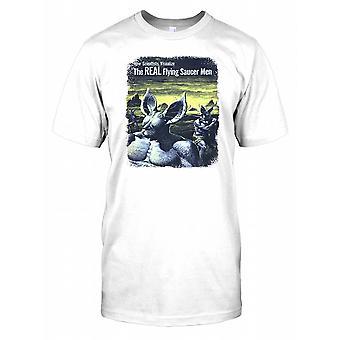 Mężczyzn prawdziwe latający spodek - fajne Retro UFO męskie T Shirt
