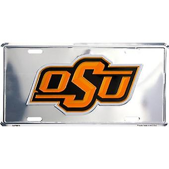 Oklahoma State Cowboys NCAA argent miroir plaque d'immatriculation