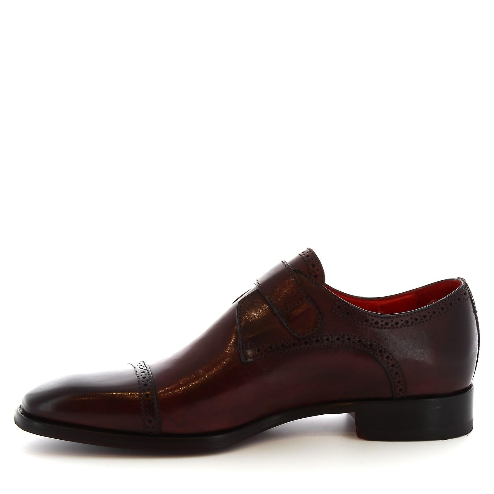 Leonardo Shoes 8737e19tomvitellodelavebordeau Men's Burgundy Leather Monk Strap Shoes uf4gQs