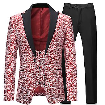 Allthemen menns Tuxedo Dress 3-stykker bryllup floral Dress blazer & vest & bukser