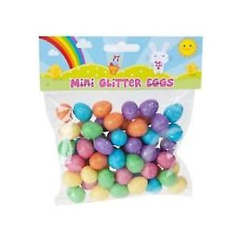 Pack Of 60 Glitter Mini Eggs Decoration