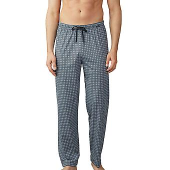 Mey Men 19060-188 Men's Lounge Ciel Blue Tile Print Cotton Pajama Pyjama Pant