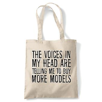 Voices In My Head Buy More Models, Tote - Reusable Shopping Canvas Bag Gift
