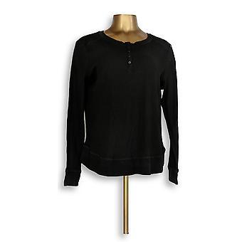 Anybody Women's Petite Top MP Loungewear Cozy Knit Waffle Black A345613