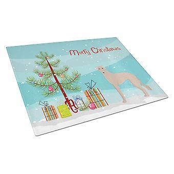 Tan Longdog Christmas Tree Glass Cutting Board Large
