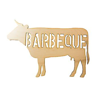 Barbeque beef raw wood cutout sign 18x12