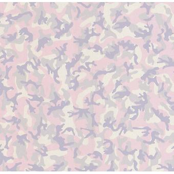 Girls Pink Camouflage Glitter Wallpaper Grey Purple Army Bedroom Military Camo