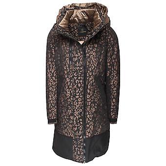 Creenstone Leopard Print Design Long Hooded Coat