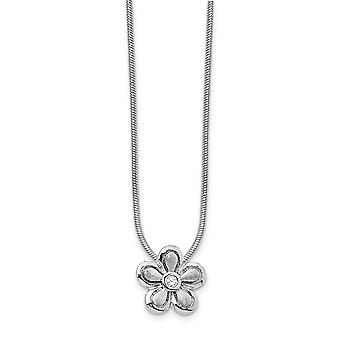 Gift Boxed Rhodium plated Polished and satin Lobster Claw Closure White Ice .02ct. Diamond Flower Necklace 18 Inch Jewel