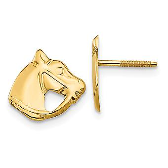 14k Yellow Gold Polished Screw back Post Earrings Horse Head for boys or girls Earrings Measures 10x10mm