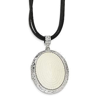 Silver tone Fancy Lobster Closure Freshwater Cultured Pearl Oval Locket 30 Inch Double Cord Necklace Jewelry Gifts for W