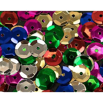 200 Round Cupped 8mm Craft Sequins with Holes - Choose Your Colour