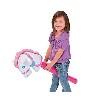 Oppblåsbar rosa hobby hest for barn
