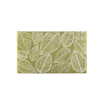 GRUND- Badematte Badteppich mit Blätter-Motiv rutschhemmend Fußbodenheizung geeignet