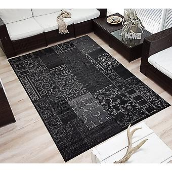 Design Velours Short Flor Rug »Bombay» Patchwork Look Ornament Black Grey