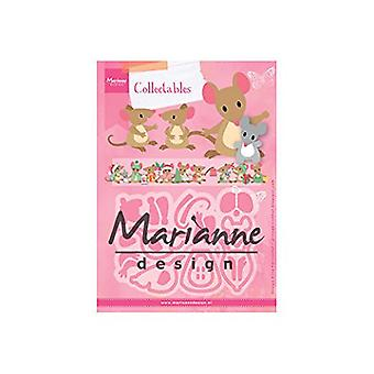 Marianne Design Collectables Eline Mäuse Familie sterben, Metall, Pink, 21,1 x 15,5 x 0,2 cm