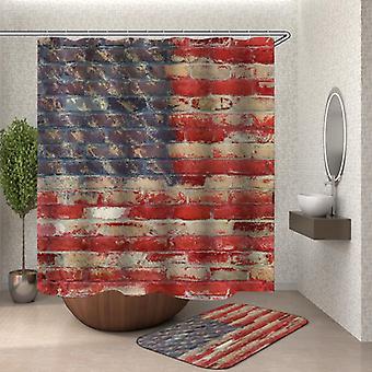 ブリックウォールアメリカンフラッグシャワーカーテン