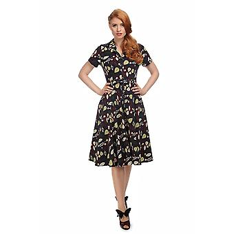 Collectif Vintage Women's Caterina Woodland Leaves Swing Dress