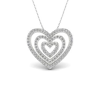 Igi certified s925 sterling silver 0.25ct tdw diamond concentric hearts necklace