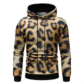 Allthemen Men's Hooded Casual Leopard Print Sweater Winter Hoodies Outwear Warm Pullover Outer Round Collar
