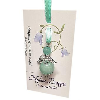 Handmade Hanging Semi-precious Aquamarine Guardian Angel in Silver Plated by Nyleve Designs